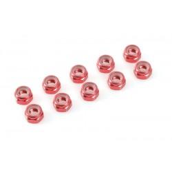 ALUMINIUM NYLONSTOP NUT M3 - RED (10PCS)
