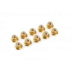 ALUMINIUM NYLONSTOP NUT M3 - FLANGED GOLD (10PCS)