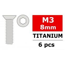 TITANIUM SCREWS M3X8 MM HEX FLAT HEAD (6)