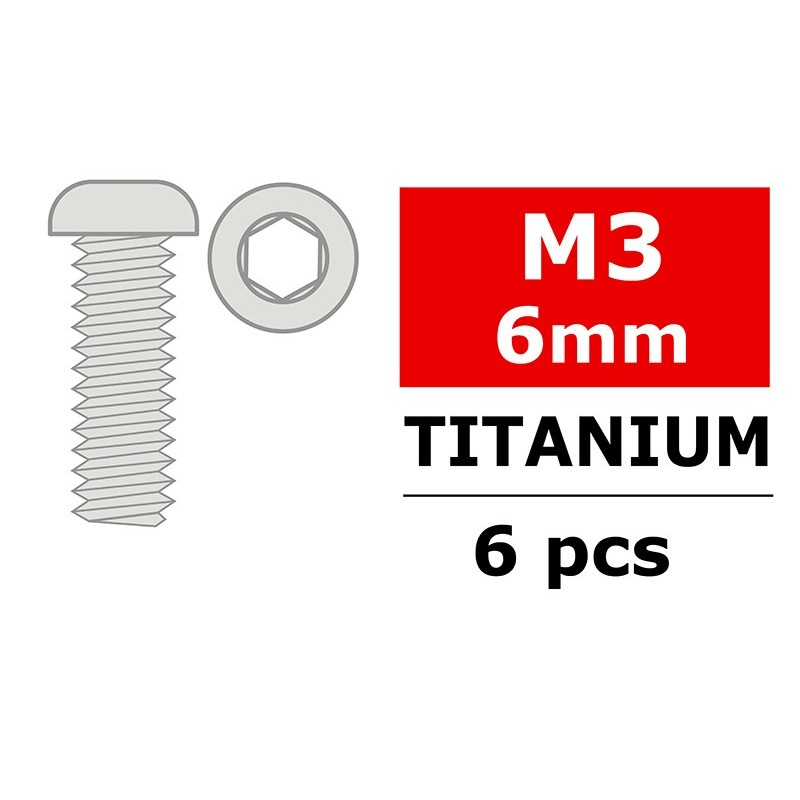 VITI IN TITANIO M3X6 MM HEX TESTA TONDA (6)