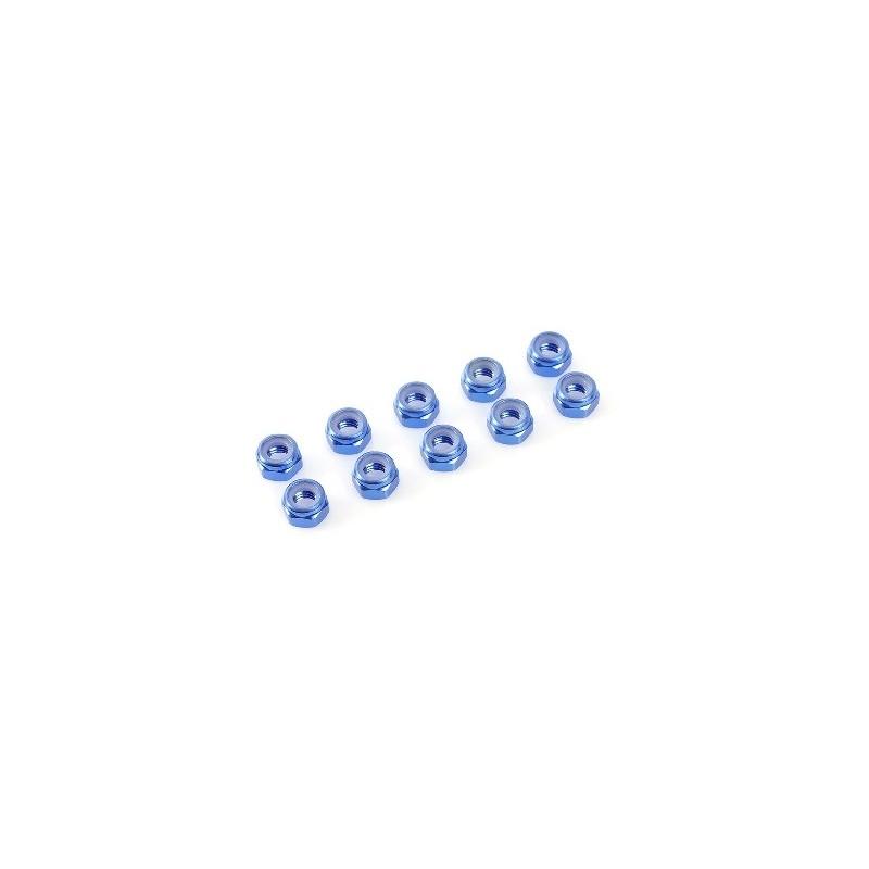 Dadi M4 autobloccanti alluminio - Blu - (10)