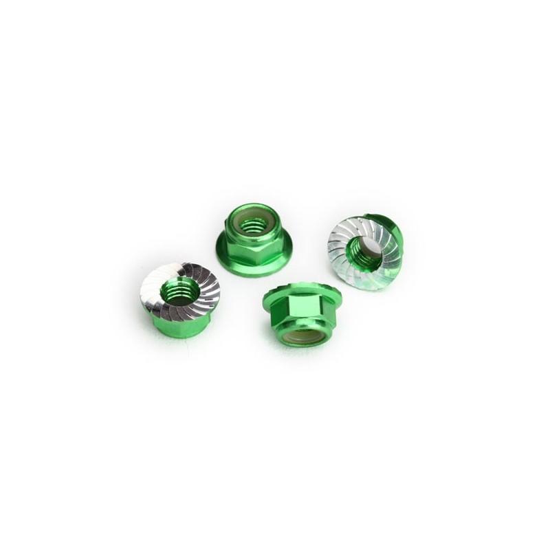 dadi flangiati alluminio 5mm verdi (4)