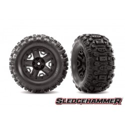 "SledgeHammer tires glued on black wheels 2.8"" TSM (2)"