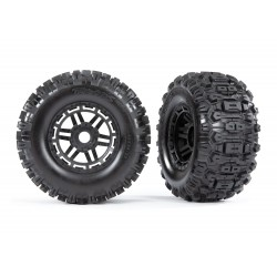 "Tires glued on black wheels Sledgehammer 2.8"" TSM (2) 17mm HEX"
